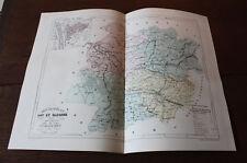1850 Carte Géographique Atlas époque couleur Département Lot et Garonne 47 Agen