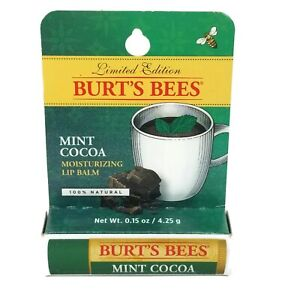 Burts Bees Mint Cocoa Moisturizing Lip Balm New Sealed In Box Limited Edition