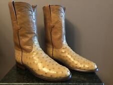 Lucchese Classics Men's Exotic Full Quill Ostrich Brown  Ropers Boots 9D