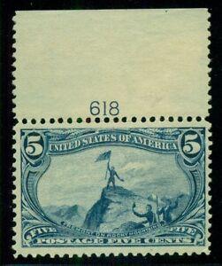 US #288 5¢ Trans-Miss. Plate No. Single, og, NH (hinged in margin) Scott $275.+