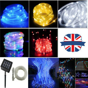 Solar LED Rope Lights Fairy String Tube Lamp Waterproof Outdoor Garden Decor