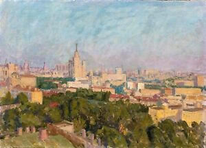 Large 20th Century Impressionist Morning View Of Moscow Russia by Vassily Sablin
