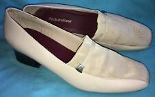 Vintage Naturalizer 10M 468N67 Taupe Beige Leather/Fabric Pump Chunky Heel Uses