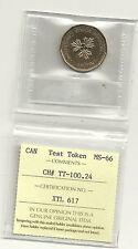 Loonie Dollar Canada Test Token CH# TT-100.24 ICCS Certified MS-66