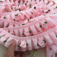 1 M fleur Rose Rose Ruffle Lace Trim plissé ruban mousseline artisanat largeur