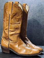 FRYE Vintage USA Leather Cowboy Boots Western Motorcycle Distressed TAN Size 10