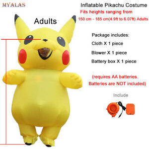 Adults Kids Inflatable Pikachu Costume Pokemon Cosplay Halloween Costume Outfit