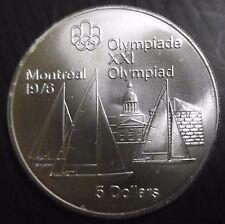 CANADA - 5 DOLLARS 1976 JO MONTRÉAL Voiliers - REINE ELIZABETH II -  Argent N°4