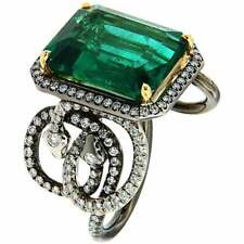 Octagonal Emerald 8.41 Carat With Shiny Real CZ Amazing Design 925 Silver Ring