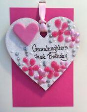 1st birthday Grandaughter Handcrafted Glitter Keepsake Heart Unique Personalised