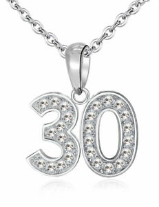 30 Pendant & Necklace - Sterling Silver 925 - 30th Birthday Celebration Gift