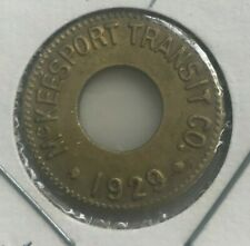 McKeesport Pennsylvania PA 1929 McKeesport Transit Co Transportation Token