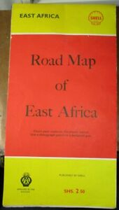 1962 VINTAGE SHELL ROAD MAP OF EAST AFRICA NEVER USED