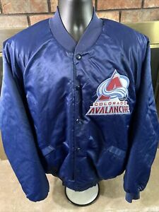 Vintage Colorado Avalanche NHL Hockey Snap Satin Varsity Jacket Mens Size XXXL