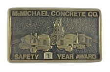 McMichael Concrete 1 Yr Safety Award Solid Brass Belt Buckle Cement Mixer Trucks