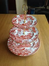 ROYAL CROWN DERBY 'Red Aves' 3 Tier Cake Stand Excellent Condition