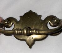 Brass Keeler Batwing Dresser Drawer Pull Drop Handle Hardware RARE K10569 USA