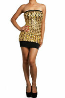 Dress Sexy Gold Metallic Tube Strapless Cut Out Textured Liquid Club New S