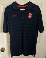 SYRACUSE ORANGE/ORANGEMEN College Nike Dri-Fit Blue Polo Golf Shirt Mens Large