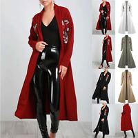 Ladies Womens Flowy Floaty Cardigan Open Front Flared Embroidered Coat Jacket