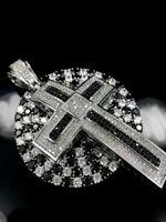 """Matching COMBO Simulate BLACK Diamond 14k White Gold Gp 24"""" Chain + CUSTOM Cross"""