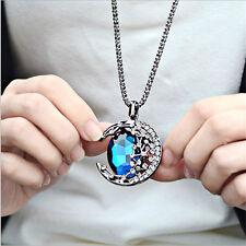 Vintage Women Crystal Rhinestone Moon Pendant Jewelry Retro Long Chain Necklace