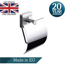 Square Toilet Roll Holder with Cover, Stainless Steel Wall Mounted,Self Adhesive