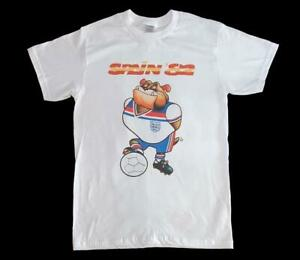 World Cup Spain 82 England Bobby the Bulldog White T-Shirt S-3XL Football retro