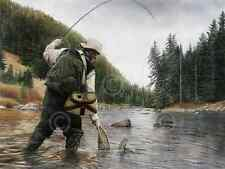 TROUT ART PRINT - Fishing the Gallatin by Kevin Daniel 38x50 Fly Fish Net Poster