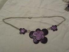 """Silver Tone & Purple Enamel Flower Chain Necklace - 18-20"""" long"""