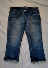 LA Idol Women's Faded Distressed Embellished Blue Jeans Size W 35 L 18
