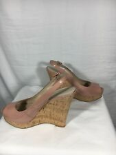 NINE WEST Shoes Size 9 Wedges Pink Patent Leather Chateau Rose Leggyr Cork Sling