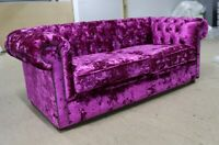 CHESTERFIELD PINK GLAMOUR TUFTED BUTTONED 3 SEATER SOFA SETTEE CRUSHED VELVET