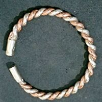 Bracelet Solid Sterling Silver 925 Twisted With Copper Wire For Men & Women