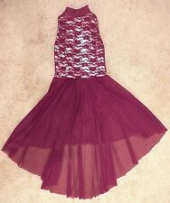 Ice Figure Skating Dress Competition Baton Twirl Girl 12 Red Lace Pink Metallic
