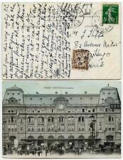 FRANCE POSTAGE DUE 1909 PPC RAILWAY STATION ST LAZARE + ENGLISH MESSAGE