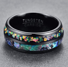 8mm Abalone shell Genuine Opal Black Tungsten Carbide Wedding Ring Band NEW*