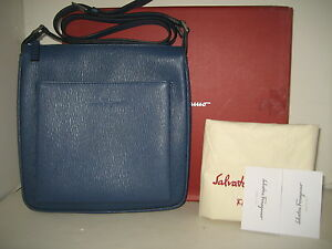 NEW Salvatore Ferragamo Men Unisex Blue Leather Messenger Crossbody Shoulder Bag