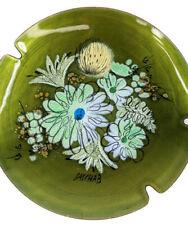 Vintage Sascha Brastoff Mid Century MCM Ashtray Green Floral Signed Enamel Metal
