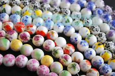 10/100pcs 10mm Flowers Pattern Ceramic Porcelain Loose Spacer Colorized Beads