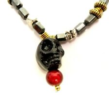 """HEMATITE BARREL GOLD/SILVER TONE METAL RED/BLACK GLASS BEADS SKULL 18"""" NECKLACE"""
