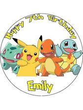 "Pokemon Pikachu 7.5"" Rice Paper Birthday Cake Topper BRD2"