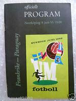 1958 World Cup Finals Programme FRANCE v PARAGUAY, 8 June (Org*,VG)