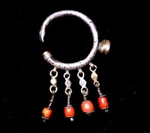 Duwwah Antique Berber Tribal Ear Ornament Earring Silver & Coral SINGLE