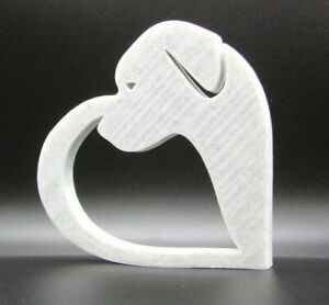 Dog in Heart Shape Ornament 15x15x1.5cm - Various Colours