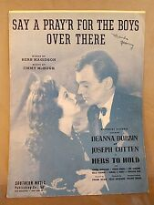SAY a PRAYER FOR the BOYS OVER THERE - World War II - Sheet Music 1943