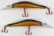 2 x Fladen Warbird 7cm Deep Minnow 7 Rattler Plug Lure 6g Orange Gold & Black