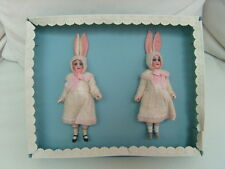 2 antique porcelain dolls in the original box - sweet Bunnys
