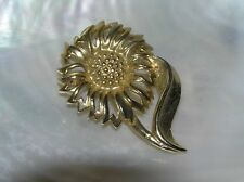 – 1 and 3/8th's x 2 in Estate Goldtone Sunflower Fall Harvest Season Pin Brooch
