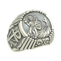 Saint St Christopher Christian Catholic Sterling Silver 925 cross mens ring